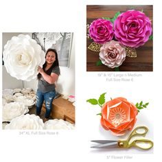 Giant Paper Flower Templates | 3D Large Paper Flower Stencil Pattern | DIY Handmade Paper Flowers | Paper Flower Decor and Backdrop for Weddings and Events Paper Flower Decor, Large Paper Flowers, Flower Decorations, Paper Flower Tutorial, Flower Template, Stencil, Backdrops, Events, Templates