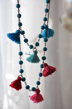 Bib Tassel Necklace - Set of Two Strand Necklace - Bohemian Tassle Necklace - Boho Chic Necklace