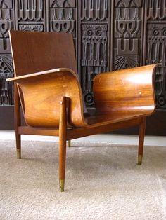 Mid Century Modern Bent Plywood Lounge Chair Danish Modern Madmen Eames | eBay