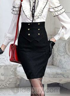 Stunning New Arrival Slim Double-Breasted Woolen Black Skirt : Tidebuy.com