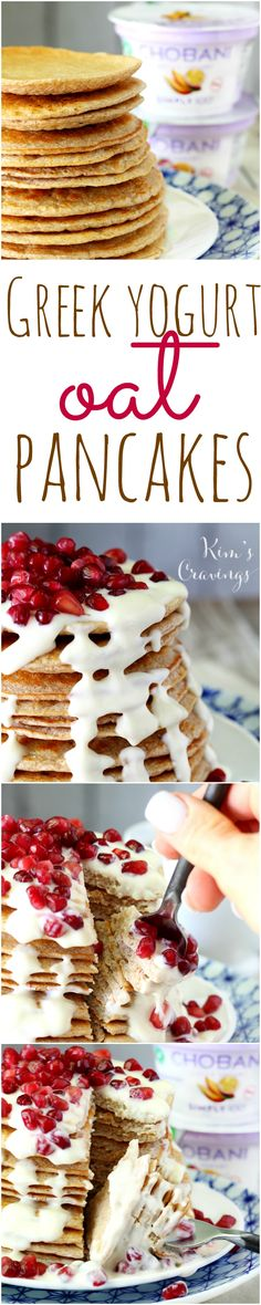 These gluten-free Greek Yogurt Oat Pancakes are hearty and satisfying. They're packed with over 30 grams of protein without an ounce of protein powder, making them the perfect pre/post workout fuel. (Baking Meatballs With Oats) Sin Gluten, Gluten Free, Healthy Eating Recipes, Cooking Recipes, Flour Recipes, Healthy Food, Oatmeal Chocolate Chip Cookies, Pancakes And Waffles, Yogurt Pancakes