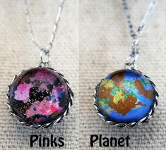 Pocket Universe Necklace Nebula on one side and Alien Planet on the other by Fractured Infinity FracturedInfinity.etsy.com Space Jewelry, Alien Planet, Planets, Infinity, Universe, Pendant Necklace, Pocket, Etsy, Infinite