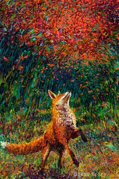 Fox Fire ~ artist Iris Scott; her method is finger-painting, with stunning results.   #red_fox #art #mytumblr
