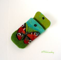Wet Felted  BUTTERFLY Felt pouch