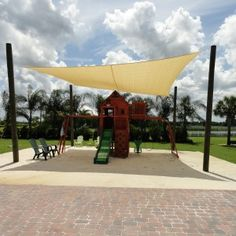 Play area protected by shade sail