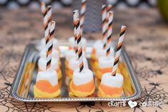 Witches and Wizards Halloween Pumpkin Decorating Party: Display Table: Candy Corn Marshmallows Fall Pumpkins, Halloween Pumpkins, Halloween Party, Craft Party, Diy Party, Tuxedo Cake, Baking Cupcakes, Party Treats, Pumpkin Decorating