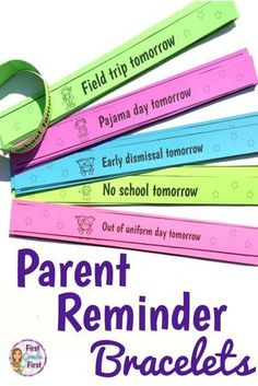 Parent Reminder Bracelets in English and Spanish Parent reminder bracelets are an easy and fun way to communicate with parents. In both English and Spanish. The post Parent Reminder Bracelets in English and Spanish appeared first on School Diy. Classroom Hacks, Kindergarten Classroom, Future Classroom, Classroom Organization, Preschool Classroom Management, English Teacher Classroom, Year 1 Classroom, Classroom Libraries, Classroom Routines
