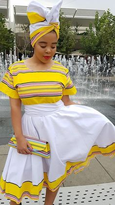 South african clothing for black women - fashion ShweShwe 1 South African Dresses, South African Traditional Dresses, South African Fashion, African Fashion Designers, African Print Dresses, African Print Fashion, Africa Fashion, African Outfits, South African Clothing