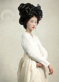 South Korea. Hanbok, Korean traditional dress and hair style