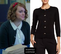 Who: Ethel Muggs (Shannon Purser)   What: [Cable & Gauge Bow Button Cardigan]   Where: Season 1 Episode 10 The Lost Weekend