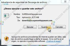 """DESCARGA:  1º vamos a descargar SUPERAntiSpyware de aquí . (En el caso de que tuvierais alguna duda preguntáis en el foro).  Al bajarlo se nos abre esta ventana y le damos a """"guardar"""",  Automáticamente se nos abre una ventana en donde elegimos el directorio """"Escritorio"""" (marcado en la imagen con un 1 y de nuevo """"guardar"""") Desktop, Windows, Lets Go, Hacks"""