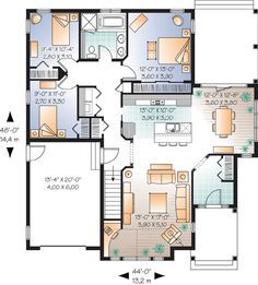 First Floor Plan of Bungalow   House Plan 65540