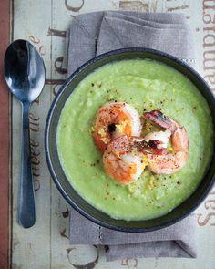 Cream of Asparagus Soup with Shrimp—a great recipe for using leftover asparagus stems (fresh or frozen). alive.com