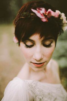 Pixie cut and floral crown | Image by Chelsea Seekell Photography