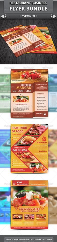 Restaurant Business Flyer | Bundle 2  #GraphicRiver         This food item is a designed for any types of companies. It is made by simple shapes of elements although looks very professional. Easy to modify, change logo, icons and colors (like red, yellow, black, blue, cyan, brown, gray) dimensions, get different backgrounds and textures patterns combinations to suit the feel of your web or social media event. It's a clean, professional, readable graphics symbols template cards suitable for…