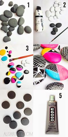 Painted rock magnets by Alisa Burke. Nice for decorating pots Pebble Painting, Pebble Art, Stone Painting, Diy Painting, Rock Painting, Pebble Mosaic, Stone Crafts, Rock Crafts, Arts And Crafts