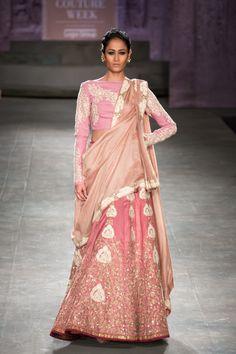 Anju Modi at India Couture Week 2014 - pink long sleeved boat neck lehnga