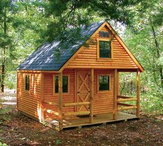 Trendy home small cabin Small Log Cabin, Tiny Cabins, Little Cabin, Tiny House Cabin, Log Cabin Homes, Cabins And Cottages, Tiny House Design, Log Cabins, A Frame Cabin Plans