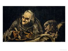Two Old Men Eating, One of the Black Paintings from the Quinta Del Sordo, Goya's House, 1819-1823