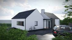 The two storey, split level design is informed by the site contours, orientation and views. The living accommodation is located on the upper ground level and bedroom accommodation is located at lower ground level. Simple Bungalow House Designs, Modern Bungalow House Plans, Modern House Design, House Floor Plans, House Cladding, Facade House, Country Farmhouse Exterior, House Designs Ireland, Beach House Tour