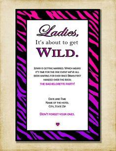 Bachelorette Party Invitation Pink & Purple by AshleyMartinDesigns, $5.00