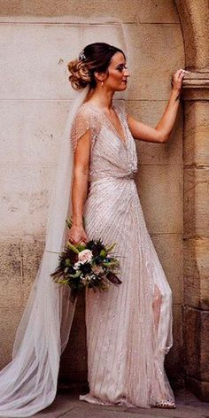 vintage wedding dresses 1920s art deco straight with sleeves jenny packham