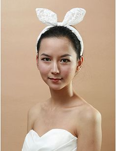 Beautiful lace headband rabbit ear is attached