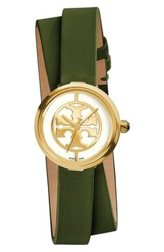 3bf6470564ea Tory Burch  Reva  Logo Dial Double Wrap Leather Strap Watch
