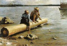 "This is ""Boys Playing"" by Albert Edelfelt painted in Edelfelt was a Swedish speaking Finnish painter . Small Sailboats, Boy Fishing, Boys Playing, Victorian Art, Boy Art, Sculpture, Beach Art, Gravure, Light Art"
