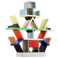 Ettore Sottsass Carlton Shelf, 1981, by Memphis Italy,  Room Divider | See more antique and modern Shelves at https://www.1stdibs.com/furniture/storage-case-pieces/shelves