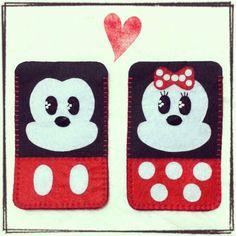 Mickey and Minnie Mouse felt mobile case #ilovehandmade