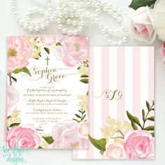 Girl Baptism, Christening, First Communion, Dedication Invitation, Printed Floral, With Pink Watercolor Flowers and Gold Calligraphy
