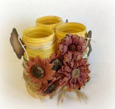 Centerpiece Jars Set of 3 Distressed Painted Jelly Jars Autumn Gold Embellished Burlap Dictionary Pages Flowers Centerpiece  Decorative Jar by LilyGraceInspired on Etsy https://www.etsy.com/listing/222241497/centerpiece-jars-set-of-3-distressed