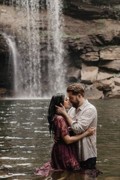 Engagement Pictures Intimate Waterfall Adventure Engagement Session in Altamont, TN Water Engagement Photos, Country Engagement Pictures, Engagement Photo Poses, Engagement Photo Inspiration, Engagement Couple, Engagement Shoots, Fall Engagement, Engagement Images, Couple Photography Poses