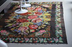 Tapis kilim moldave coloré fleur graphique in Art, antiquités, Meubles, décoration, XXème, Design du XXème siècle   eBay