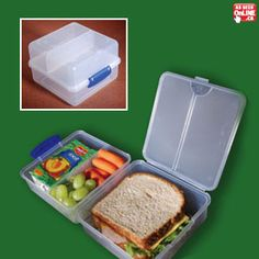 Pack your entire lunch into one container! This divided lunch box has three compartments to separate your favourite snacks and side dishes from your sandwich and keeps your lunch fresh and ready to eat. Locking tab closure keeps your lunch separate and intact as you conveniently pack a healthy lunch in just one container!