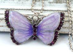 Enameled Butterfly Necklace with Rhinestones in by Schmucktruhe