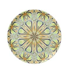 Mellow Yellow Fractal Flowers Plate