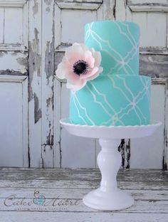 Blush and blue wedding cake.