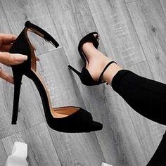 - Simple Peep Toe Pumps with Black Heels - AdoreWe . Black Pumps Heels, Black Sandals, Shoes Heels, Women's Sandals, Sexy Heels, Suede Pumps, Dream Shoes, Crazy Shoes, Cute Shoes