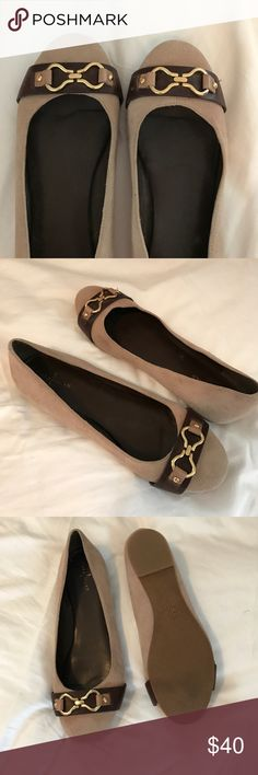 Cole Haan Suede and Leather Buckle Equestrian Flat Excellent condition, hardly ever worn! These flats are extremely comfortable and chic. Neutral tan suede with dark brown leather and gold buckle accents - very classy look. Size 9 Cole Haan Shoes Flats & Loafers