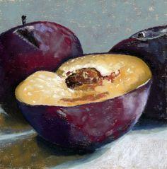 """Black Plums"" original fine art by Ria Hills Plum Fruit, New Fruit, Still Life Drawing, Still Life Art, Plum Paint, Paper Fruit, Fruit Painting, Best Fruits, Paintings For Sale"