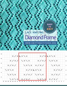 Diamond Frame Lace Easy To Knit Lace Knitting, Knitting Stitches, Knitting Patterns, Eyelet Lace, Slip Stitch, Knitting Projects, Diamond, Frame, Easy