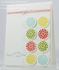 """Stamps: Mixed Bunch, Happiest Birthday Wishes Paper: Whisper White Ink: Daffodil Delight, Calypso Coral, Lucky Limeade, Pool Party, Basic Black Accessories: 1"""" circle punch, Calypso Coral Baker's Twine"""