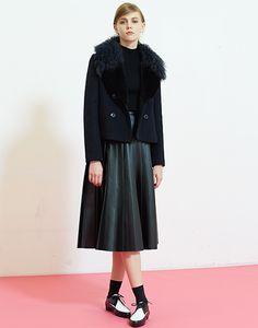 LE CIEL BLEU ハイネックニット/フェイクレザープリーツスカート/ファーカラーコート