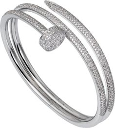 Cartier white gold and diamond bracelet - A new piece from Cartier's iconic Juste un Clou collection White Gold Diamond Bracelet, White Gold Jewelry, Diamond Bracelets, Gold Bangles, Diamond Jewelry, Gold Jewellery, Silver Bracelets, Bracelet Cartier, Cartier Jewelry