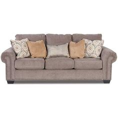 Cuddle up on the Emelen Alloy Chenille Sofa byAshley Furniture. The alloy steel colored soft chenille sofa will be inviting for your friends & family