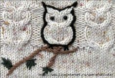 Wow, seen the cabled owl loads of times - never seen it outlined though! Baby Cardigan Knitting Pattern Free, Baby Boy Knitting Patterns, Knitting Charts, Knitting For Kids, Knitting Stitches, Knitting Projects, Crochet Projects, Hand Knitting, Knitted Owl