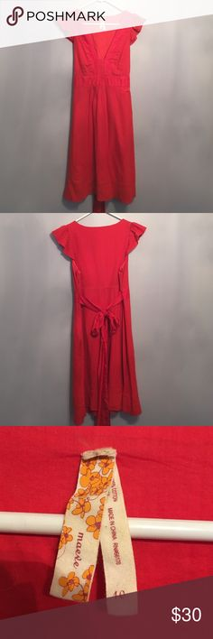 Maeve Red Dress from Anthropologie Cute red summer knee length dress by Maeve from Anthropologie. Ties in the back. Purchased a couple years ago and worn only a couple times. In great shape. Anthropologie Dresses