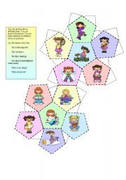 English worksheet: A dice ( for girls)